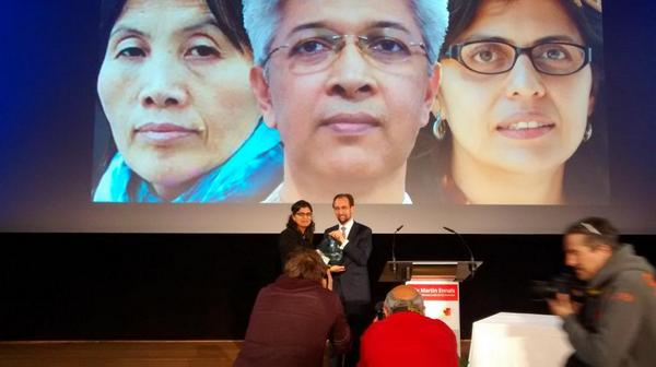From left on the screen: Cao Shunli, Adilur Rahman Khan and prizewinner Alejandra Ancheita