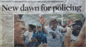 Cape Times front page the day after the Commission's report is released
