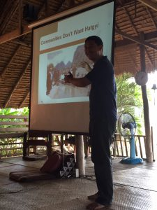 Neung presenting to MLAI participants on the impacts of the Hatgyi dam and his work with local communities