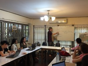ERI Legal Director Marco Simons discussing legal writing technique with all of ERI's Bertha Fellows