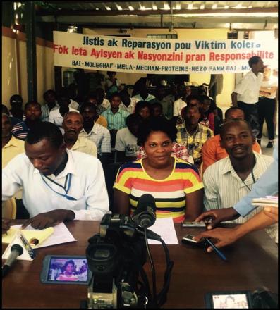 Leaders from cholera affected communities speak to press