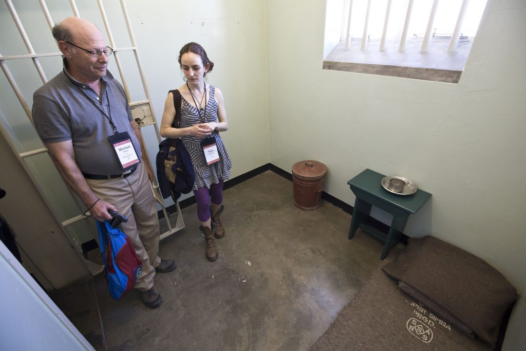 Michael with Risa Tabatznik, Nelson Mandela's Cell, Robben Island, 2014