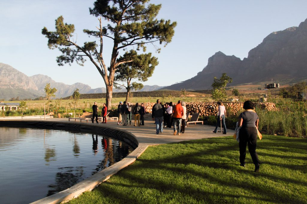 Participants enjoying the surroundings of Boschendal Retreat