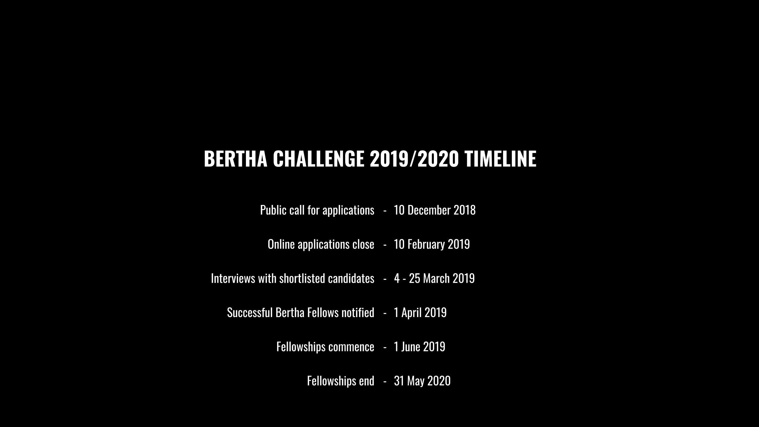 The Bertha Challenge - Bertha Foundation